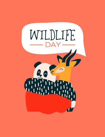 Happy wildlife day illustration. Panda bear and gazelle animal friends as people hugging together. Help, wild life conservation awareness concept. Illusztráció