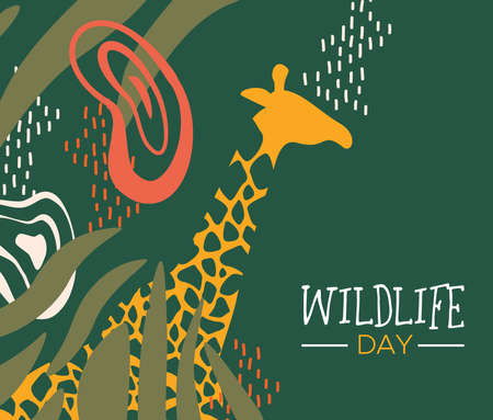 Happy wildlife day illustration. Wild giraffe with african safari decoration for animal care and conservation.