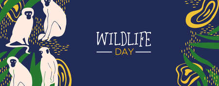 Happy wildlife day web banner illustration. Wild monkeys with african jungle decoration for animal care and conservation. Illustration