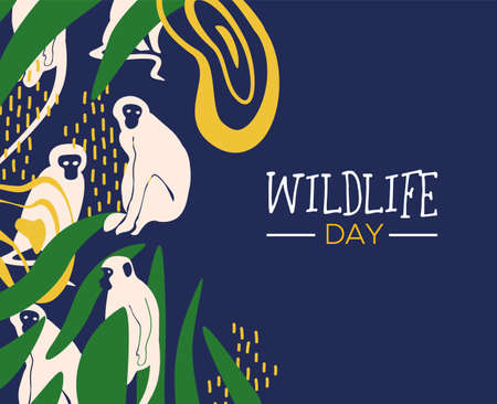 Happy wildlife day illustration. Wild monkeys with african jungle decoration for animal care and conservation. Vektoros illusztráció