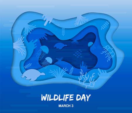 Wildlife Day paper cut style illustration of ocean water animals in cutout coral reef for sea conservation awareness. Иллюстрация