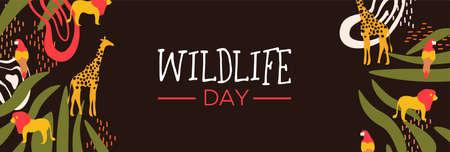Happy Wildlife Day Web-Banner-Illustration. Wilde Tiere mit afrikanischer Safari-Dekoration für Tierpflege und Naturschutz. Enthält Giraffe, Löwe, Vogel. Vektorgrafik