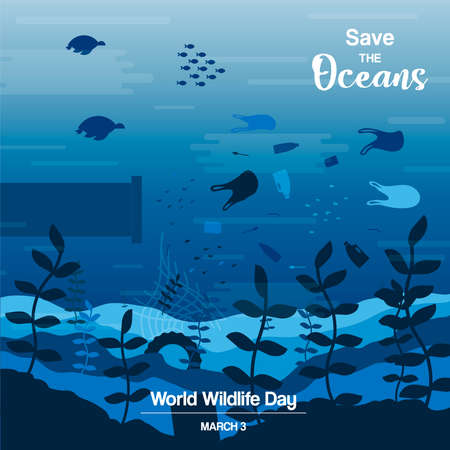Wildlife Day illustration of ocean water animals and fish swimming with plastic waste. Save the oceans concept, underwater conservation awareness.