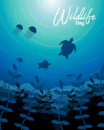 Wildlife Day illustration of ocean water animals and fish in coral reef for sea conservation awareness. Includes jellyfish, shark, turtles in underwater scenery background.