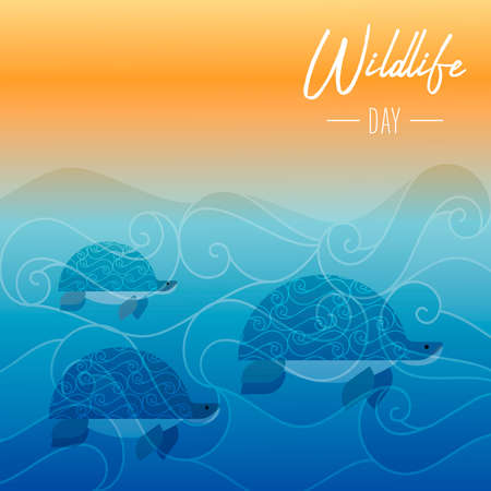 Wildlife Day illustration of turtles swimming in ocean water at sunset for sea conservation awareness.