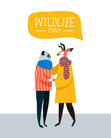 Save the animales wildlife day web banner illustration. Happy animal friends as people hugging together. Help and wild life conservation awareness concept idea. Stock fotó - 122042046