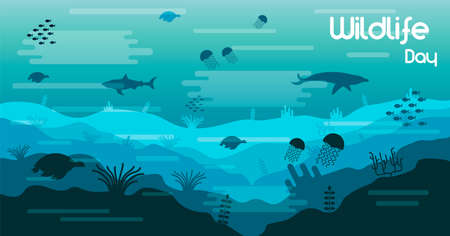 Wildlife Day illustration of ocean water animals and fish in coral reef for sea conservation awareness. Includes dolphin, shark, turtles.