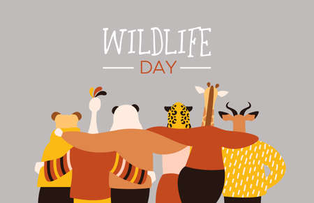 Happy wildlife day illustration with exotic animal friend group as people hugging together. Help and wild life conservation awareness concept.