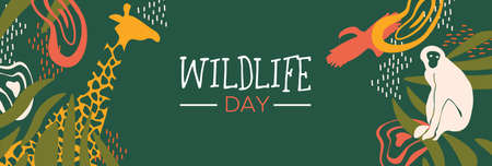 Happy wildlife day web banner illustration. Wild animals with african safari decoration for animal care and conservation. Includes giraffe, monkey, toucan bird.