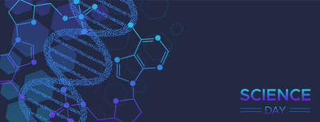 Science Day web banner illustration of abstract DNA strand for research and education.