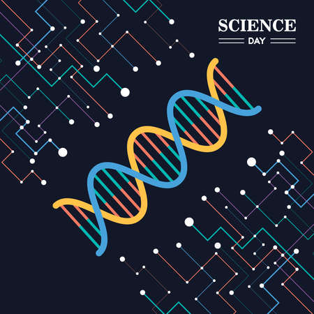 Science Day card illustration of abstract DNA strand for research and education.