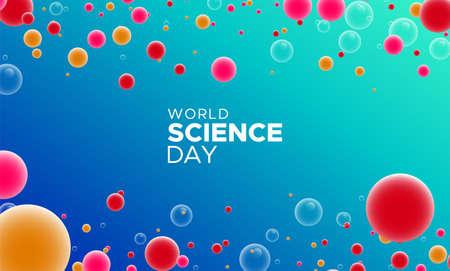 Abstrakte Illustration zum Welttag der Wissenschaft. Bunter Hintergrund mit Blasen unter dem Mikroskop für die Feier der wissenschaftlichen Forschung.