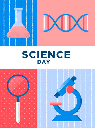 World Science Day poster illustration. Scientific tools in hand drawn grunge texture style for research concept. Includes microscope, chemistry flask and DNA strand.