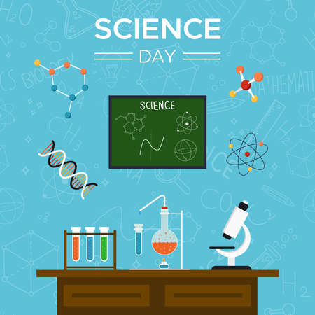 Science Day greeting card illustration of school desk with scientific tools for education concept.