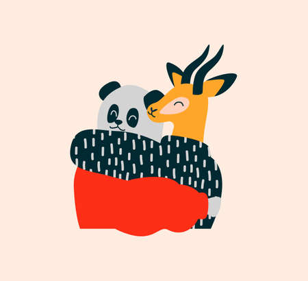 Two wild animal friends hugging and smiling together. Panda Bear, Gazelle illustration on isolated white background with copy space, endangered specias protection concept or diversity celebration.