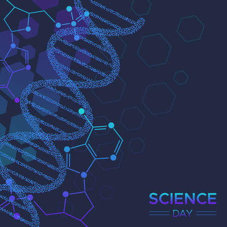 Science Day illustration of abstract DNA strand molecule background for biology and biochemistry research and education.