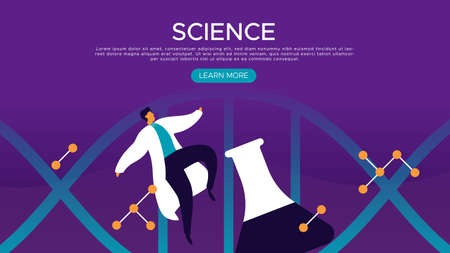 Science web landing page template with scientist man and chemistry flask in modern flat cartoon style for scientific education concept. Ilustração Vetorial