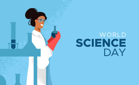 World Science Day card illustration of scientist woman in modern flat cartoon style for scientific education concept. Ilustrace