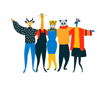 Diverse friend group of wild animals hugging together for endangered animal conservation and protection concept. Lion, bird, panda bear, giraffe team hug on isolated background with copy space.