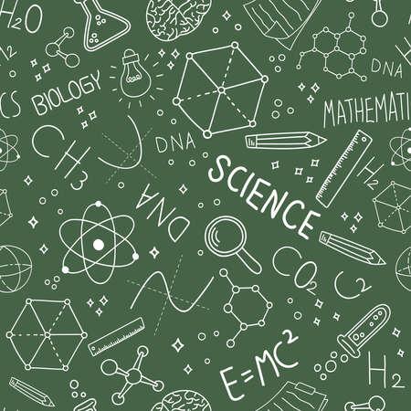 Modello senza cuciture di concetto di scienza delle icone di scarabocchio sul fondo verde della lavagna per l'istruzione e la ricerca. Vettoriali