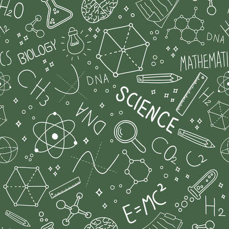 Science concept seamless pattern of doodle icons on green blackboard background for education and research.