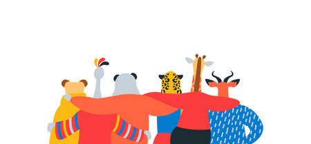 Diverse friend group of wild animals hugging together. Banner illustration for endangered animal conservation and protection concept. Lion, bird, panda bear, giraffe team hug on isolated background with copy space. Illustration