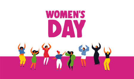 International Womens Day greeting card illustration of diverse women. Happy girls dancing for party celebration, feminist parade event or diversity concept. Illustration