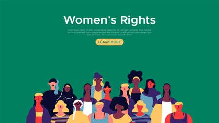 Plantilla de página web de aterrizaje de derechos de las mujeres. Ilustración de grupo de mujeres diversas para el fondo del sitio de Internet, concepto de apoyo de la comunidad femenina. Ilustración de vector