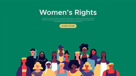 Womens Rights landing web page template. Diverse woman group illustration for internet site background, female community support concept.  イラスト・ベクター素材