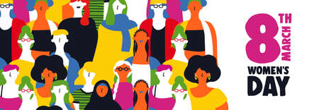 Happy womens day web banner illustration for March 8th. Diverse colorful woman group together on equal rights celebration. 向量圖像