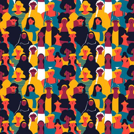 Patrón sin fisuras del día internacional de la mujer de rostros de mujeres diversas. Fondo colorido del grupo de chicas para la marcha por la igualdad de derechos, evento de protesta feminista o concepto de diversidad.