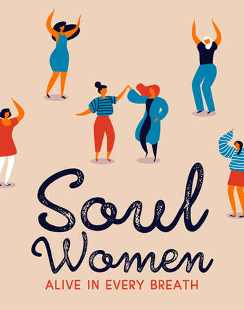 Womens Day poster illustration of diverse care free women. Retro style girls dancing for party celebration, fun feminist parade event.