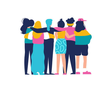 Diverse women friend group hugging together for feminist concept or womens right event. Modern young woman dressed in trendy urban fashion. Female team hug on isolated background with copy space. Çizim