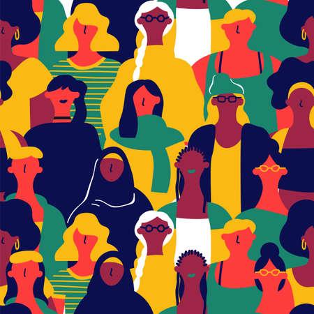 Modèle sans couture de la Journée internationale de la femme de divers visages de femmes. Arrière-plan coloré de groupe de filles pour la marche de l'égalité des droits, l'événement de protestation féministe ou le concept de diversité. Vecteurs