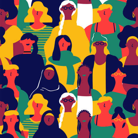Reticolo senza giunte della Giornata internazionale della donna di diversi volti di donne. Sfondo colorato gruppo di ragazze per marcia per la parità dei diritti, evento di protesta femminista o concetto di diversità. Vettoriali