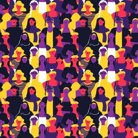 Reticolo senza giunte della Giornata internazionale della donna di diversi volti di donne. Sfondo colorato gruppo di ragazze per marcia per la parità dei diritti, evento di protesta femminista o concetto di diversità.