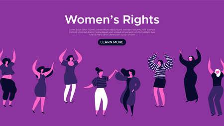 Modèle de page Web de destination des droits des femmes. Illustration de groupe de femmes dansantes heureuses pour l'arrière-plan du site Internet, concept de soutien à la communauté féminine.