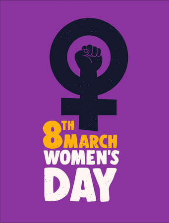 International Womens Day 8th March poster illustration. Feminist female symbol for equal rights and woman power.