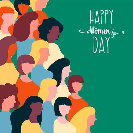 Happy Womens Day illustrazione per la parità dei diritti delle donne. Gruppo di donne colorate di diverse culture insieme su un evento speciale.