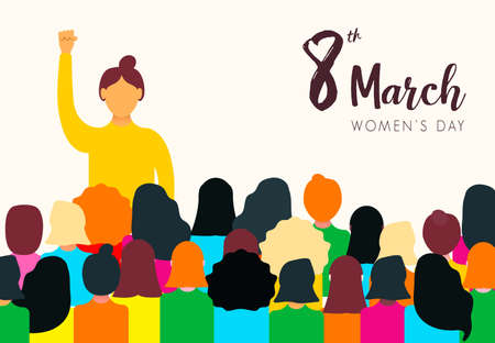 Womens Day 8th March illustration for women rights power concept. Diverse woman group at peaceful protest.