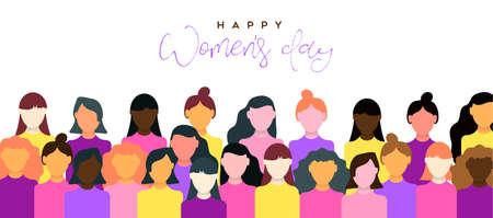 Happy Womens Day Illustration der Feier am 8. März. Frauengemeinschaft zusammen für die Unterstützung der Gleichberechtigung.