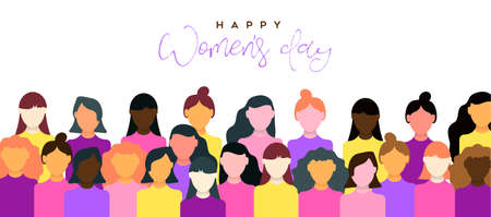 Happy Womens Day illustration of March 8th celebration. Women community together for equal rights support. Stock Illustratie