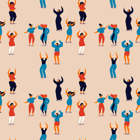 International Womens Day seamless pattern of diverse women. Happy girls dancing for party celebration, feminist parade event or diversity concept. Illustration