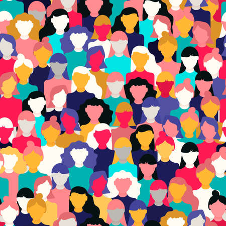 International Womens Day seamless pattern of diverse women faces. Colorful girl group background for equal rights march, feminist protest event or diversity concept. Stockfoto - 122042117