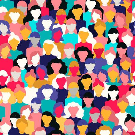 Modèle sans couture de la Journée internationale de la femme de divers visages de femmes. Arrière-plan coloré de groupe de filles pour la marche de l'égalité des droits, l'événement de protestation féministe ou le concept de diversité.