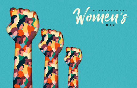 Happy Womens Day illustration. Paper cut woman hands with women group inside, female crowd for equal rights march or girl power concept. Illustration
