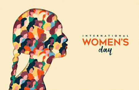 Illustrazione felice del giorno delle donne. Nativo indiano carta tagliata silhouette ragazza con gruppo di donne all'interno, folla femminile per la marcia per la parità dei diritti o il concetto di protesta pacifica.