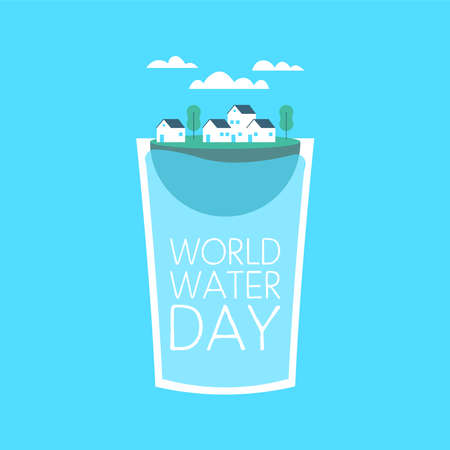 World Water Day illustration for climate change and environment care concept. Small city floating inside drinking glass.