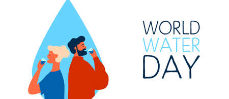 World Water Day web banner illustration of man and woman drinking. Safe clean drink waters concept for global environment care.