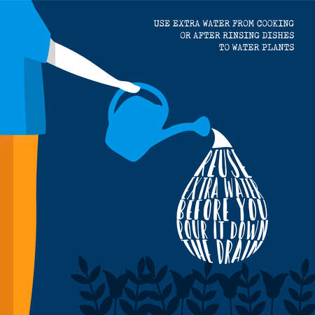 World Water Day illustration information for environment help and safe clean global waters. Nature care from home concept.